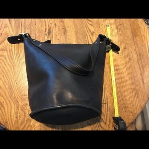 All leather bucket bag